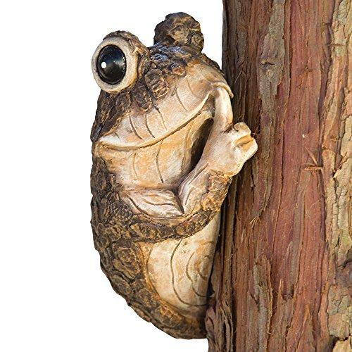 Bits and Pieces - Sei Leise! Frosch Baumfigur - Baumgucker, Baumgesicht, Baumgeist, Baumhänger - Dauerhafte Kuntsharz Tierskulptur - Hof und Garten Deko Statue für Draussen