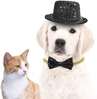 KUDES 2 Pcs Dog and Cat Costume Company Top Hat, Bow Tie Collar Set for Small Funny Pets Dog Hats Collar Accessories for Small Dog Puppy Kitten Party Supplies