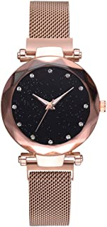 COOKI Watches Clearance Women's Starry Sky Diamond Quartz Analog Watch Round Dial Wrist Watches with Magnetic Mesh Band