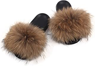 OCEAN.YY Women's Real Fox Fur Slippers Fashion for Outdoor Soft Flat Fluffy Slippers