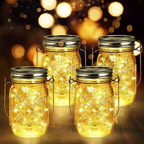 4 Stück Solarlampen Außen | 40er LED Solar Licht mit Windmühlenmuster für Garten | Solarglas Lichterkette Leuchten Solarleuchten Wasserdichte Hängeleuchten...