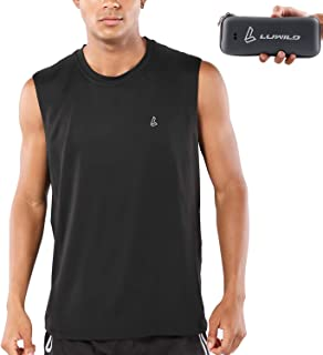LUWILD Men's Sleeveless Workout Shirts Quick-Dry Basketball Muscle Tank Top with Portable Case
