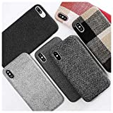 Mixneer Compatible for iPhone Xs Max Case, Cloth Texture Soft TPU case Ultra-Thin Canvas Cases Canvas Fiber Matte Frosted Soft TPU Silicone Case for Apple iPhone Xs Max - Style 9