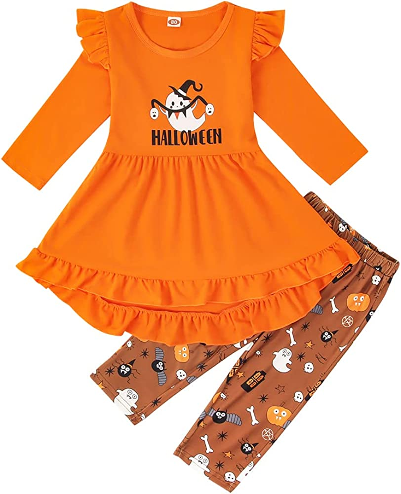 Toddler Baby Girl Halloween Clothes Ruffle Dress Tops Pumpkin Pants Long Sleeves 2Pcs Set