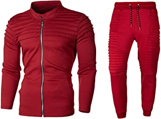 Snowmolle Men's Casual 2 Pieces Solid Full Zip Sports Sets Jacket & Pants Active Fitness Tracksuit Slim Fit Set