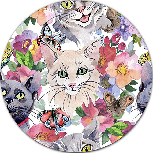 Cats Flowers Butterflies Meme Mouse Pad, Cute Mouse Pad Cat Kitten Pusheen Floral for Laptop Bussiness Office Computer Gaming Travel Studying