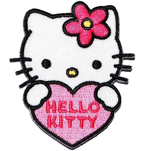 alles-meine.de GmbH Bügelbild -  Hello Kitty - mit Herz  - 5,7 cm * 6,5 cm - Aufnäher Applikation - gestickter Flicken - Jungen & Mädchen - Katze / Kätzchen - Blumen - Bügelfl..