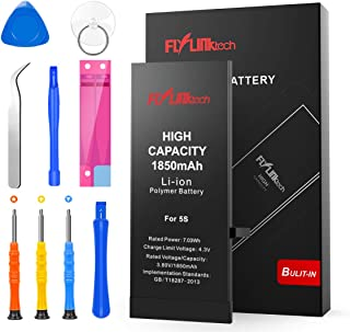 Batería para iPhone 5S 1850mAH Reemplazo de Alta Capacidad, FLYLINKTECH Batería para iPhone 5S con 19% más de Capacidad Que la batería Original y con Kits de Herramientas de reparación, Cinta Adhesiva