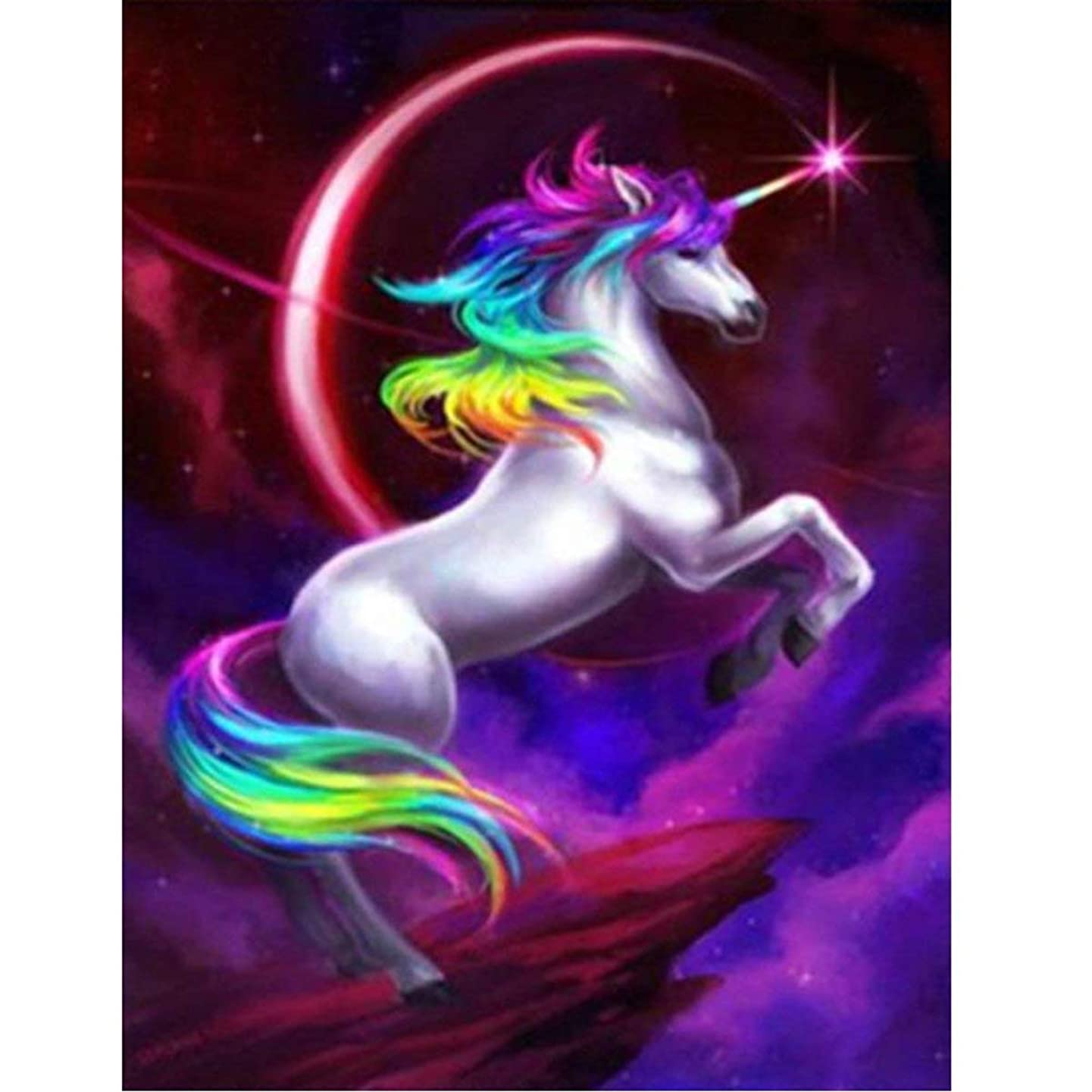 DIY 5D Diamond Painting by Number Kit, Full Drill Flying Unicorn Animal Embroidery Cross Stitch Rhinestone Pictures Arts Craft Home Wall Decor 11.8x15.8 inch
