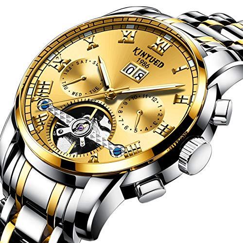 QZPM Business Hombres Automático Mecánico Tourbillon Relojes De Pulsera Acero Inoxidable Correa Puntero Luminoso Calendario Multifunción Impermeable Relojes,Oro