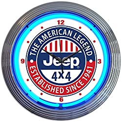 Neonetics Jeep The American Legend Clock, 15 Inch Diameter with Blue Neon – 8JEEPX