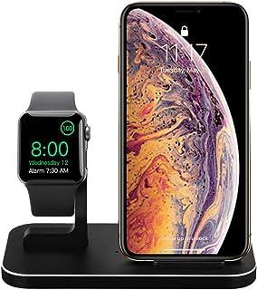 BNCHI 2 in 1 Apple Watch 充電器スタンド, Qi 急速 ワイヤレス充電器 (対応をiPhone 8/8 Plus/X/Xs/Xs Max/Xr と Apple Watch Series 4/3/2/1と) (NX800-黒)