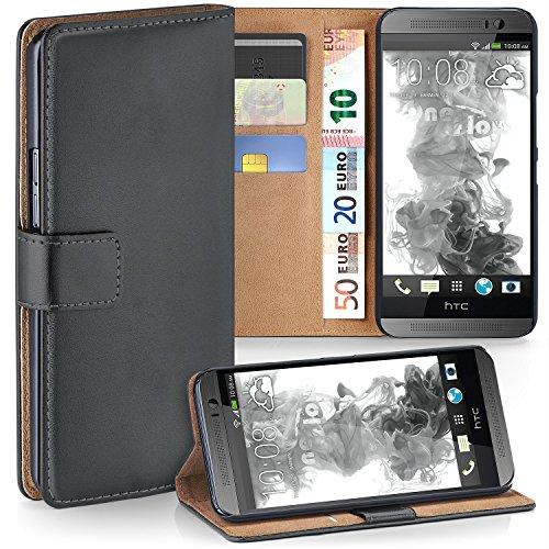 MoEx® Booklet mit Flip Funktion [360 Grad Voll-Schutz] für HTC One M8 | Geldfach & Kartenfach + Stand-Funktion & Magnet-Verschluss, Dunkel-Grau