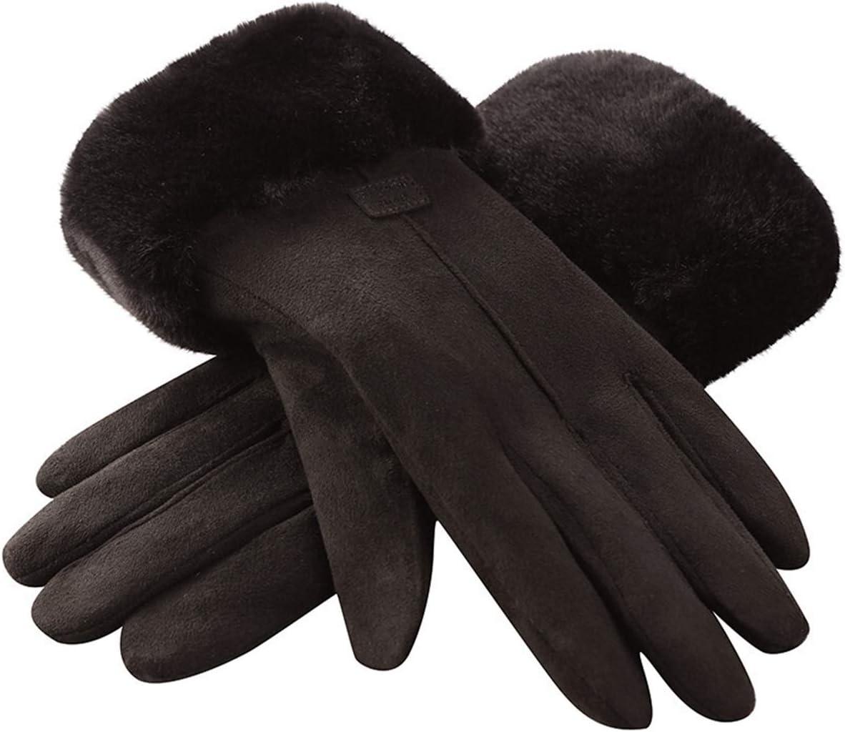 PENGYMY Winter Gloves Women Winter Plush Warm Gloves Ladies Girls Outdoor Sport Heat Full Finger Lined Driving Glove (Color : Black)