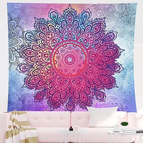 Tapiz de mandala indio para colgar en la pared tapiz psicodélico bohemio colorido tapiz hippie misterioso y estético para dormitorio sala de estar decoración de pared tapiz artístico (morado) (L)