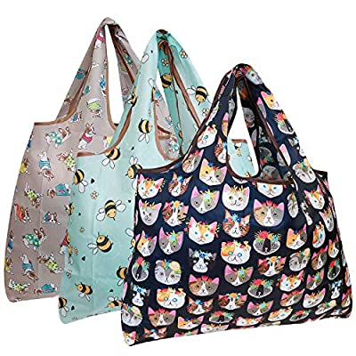 allydrew Large Foldable Tote Nylon Reusable Grocery Bag, 3 Pack, Summer Animals