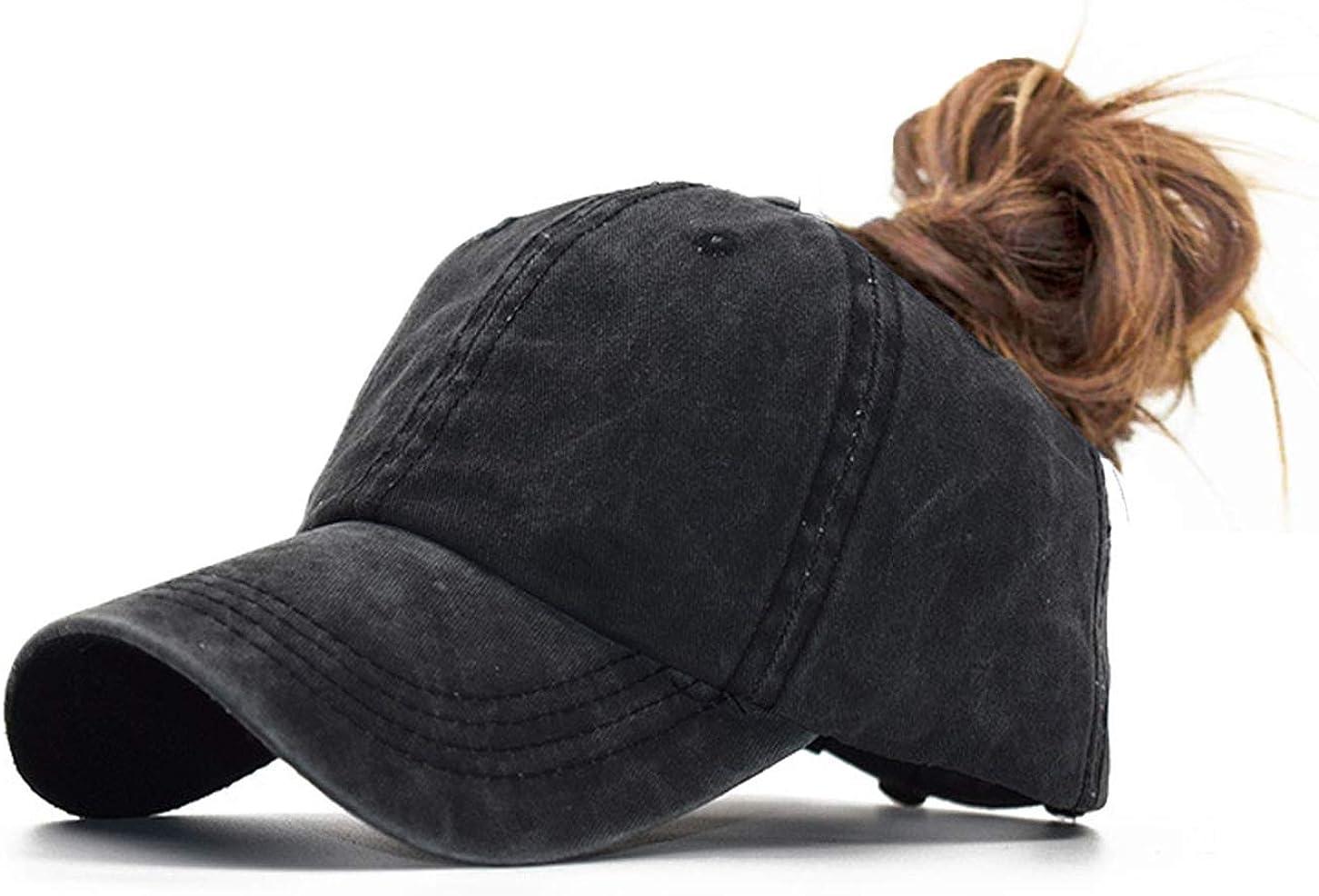 YCMI Washed Mesh Ponytail Hat Distressed Women Baseball Cotton