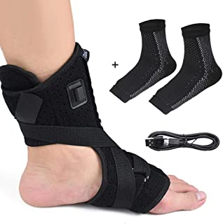 Heated Plantar Fasciitis Support Brace, Hamkaw Adjustable Hot Therapy Night Splint,Effective Relief Pain for Drop Foot and Heel, Including One Pair Sock