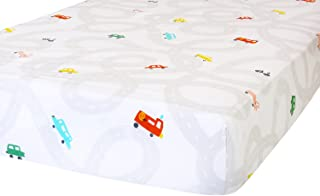 ADDISON BELLE 100% Organic Cotton Fitted Crib Sheet - Premium Baby Bedding - Soft, Breathable & Durable - Cars Print