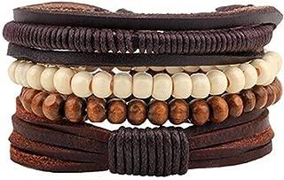 Newly Vintage Tribal Bohemian Wood Beads Bracelet Boho Bracelet Cuff Men Leather Bracelet Femme Male Wrist Band Handmade Jewelry
