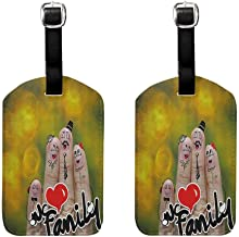 2 PCS Small luggage tag Family Happy Finger Family Holding We Love Family Words Hugging Smiling Funny Cute Artwork Unisex Multicolor
