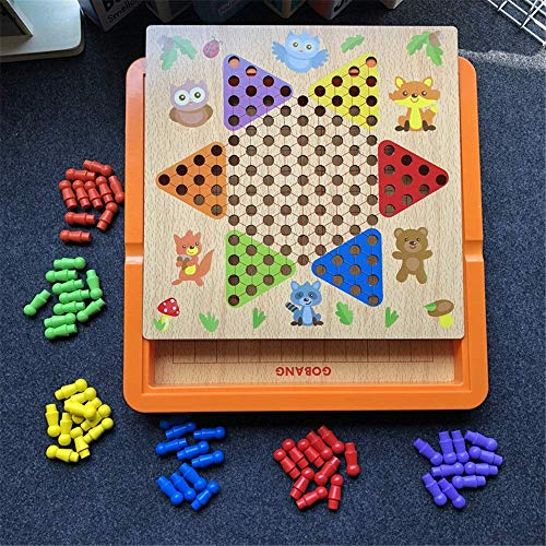 Checkers Chinese Checkers Family Board Game Set 3 in 1 Children's Birthday Board Games aijia ( Color : True Color , Size : 30x30x2.8cm )