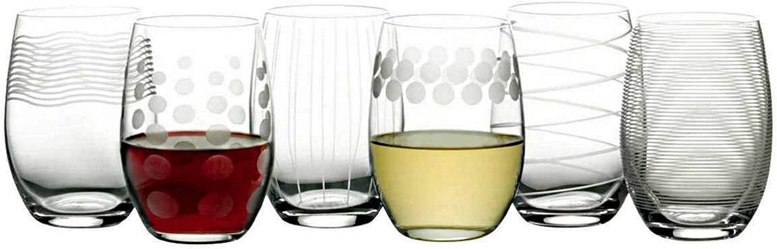 Mikasa Cheers Stemless Etched Wine Glasses Fine European Lead Free Crystal 17 Ounces For Red Or White Wine Set Of 6