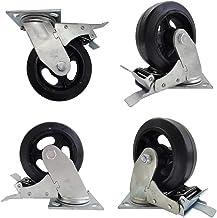 Zwenkwielen (4 stuks) Industrieel 6 inch heavy-duty platte naald ijzeren kern rubber wieloriëntatie universele zijrem voll...