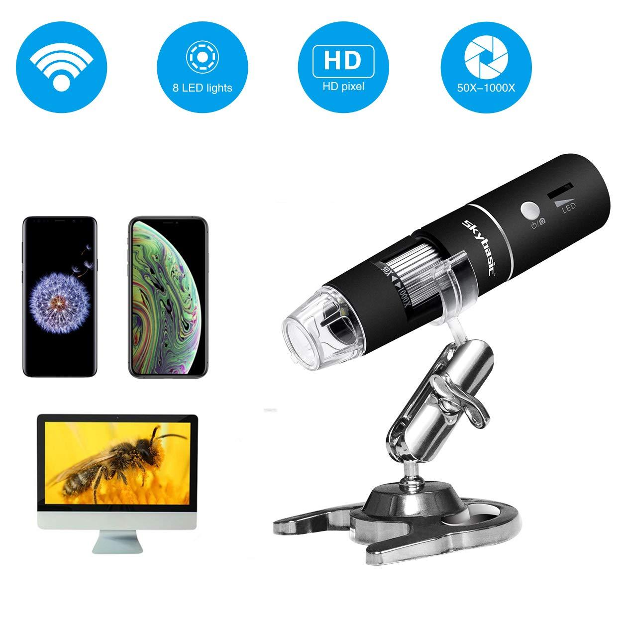 无线数字显微镜,天空基本 50X 至 1000X WiFi 手持变焦放大内镜放大镜 1080P FHD 2.0 MP 8 LED 兼容 Android 和 iOS 智能手机或平板电脑,Windows Mac PC