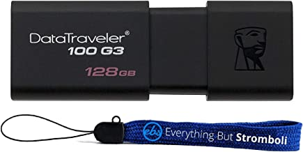 Kingston 128GB Digital Data Traveler DT100G3 3.0 USB High Speed Flash Drive Memory Stick Thumb Drive (DT100G3/128GB) Plus (1) Everything But Stromboli (TM) Lanyard