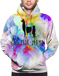 No Drama Llama Mens 3D Fun Print Hoodie Sweatshirt Double-Sided Sweater Pullover Big Pockets