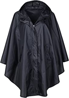QZUnique Women's Waterproof Packable Rain Jacket Batwing-sleeved Poncho Raincoat