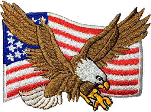 Papapatch Bald Eagle with American US Flag Iron Sewing on Patch (BALD-EAGLE)