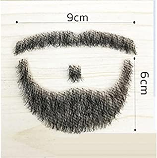 100% Human Hair Full Hand Tied Fake Mustache Beard Makeup for Entertainment/Drama/Party/Movie Prop (#2)