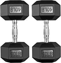 papababe Dumbbells Free Weights Dumbbells Weight Set Rubber Coated cast Iron Hex Black Dumbbell Pair