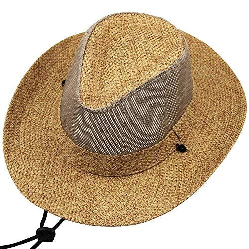 H/A Sombrilla sombrilla Hombre Verano Deportes al Aire Libre Fresco Sombrero Protector Solar Sombrero for el Sol Big Bang Playa Casual Sombrero de Paja AZHAA (Color : Coffee, Size : L)