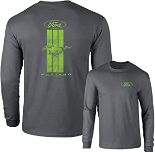Ford Mustang Green Stripe Long Sleeve T-Shirt Front and Back Shirt