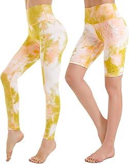 iniber Women's High Waist Leggings Tie Dye Yoga Pants Workout Tummy Control Running Stretch Yoga Leggings