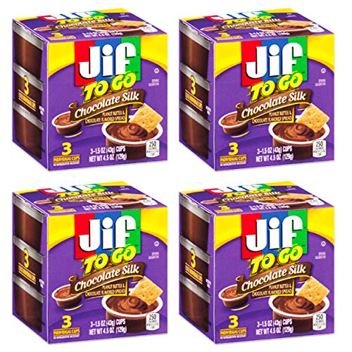 Jif To Go Chocolate Silk Peanut Butter Cups,3 individual 1.5oz. cups per box:Pack of 4 Boxes for a total of 12 individual cups.
