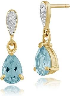 Fashion Vintage Femmes Fiançailles Poire Topaze Cristal Ton argent Pendants d/'oreilles