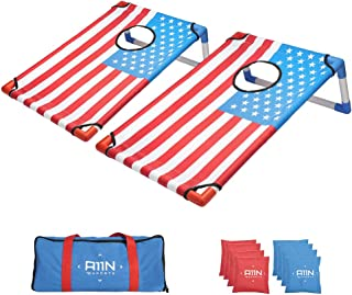 A11N Portable PVC Framed Bean Bag Toss Game Set with 8 Bean Bags & Carry Bag | Popular Cornhole Game Set | American Flag Pattern | Indoor/Outdoor