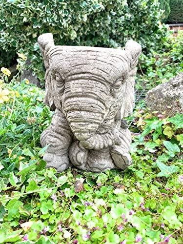 STONE GARDEN ELEPHANT PLANT POT PLANTER ORNAMENT