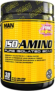 Man Sports ISO-Amino Pure Isolated BCAAs - Build Lean Muscle - Branched Chain Amino Acids Powder - Keto BCAA - Accelerate Recovery - 255 Grams, 30 Servings - Pink Lemonade