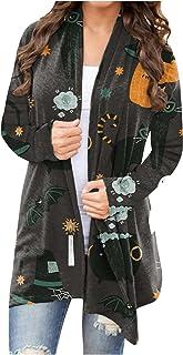 XOXSION Dames Halloween Cardigan, elegant sexy gebreid vest lichtgewicht pullover slim fit sweatshirt cardigan grappige sc...