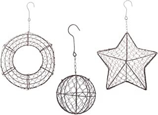 Fenteer Set of 3 Retro Iron Wire Succulent Plants Pot Wreath Frame Metal Hanging Flowers Planters - Round & Ball & Star Shape