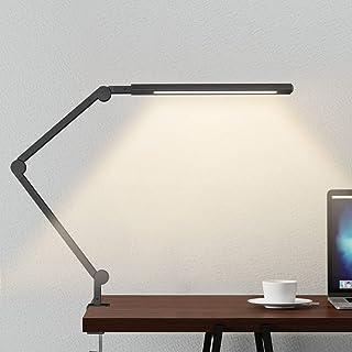 لامپ بازوی چرخشی، چراغ لامپ میز با گیره، 9W چشم انداز نور کم، تایمر، حافظه، 6 حالت رنگ، JolyJoy مدرن معماری جدول لامپ برای مطالعه کار خواندن دفتر کار / دفتر خانه (سیاه و سفید)
