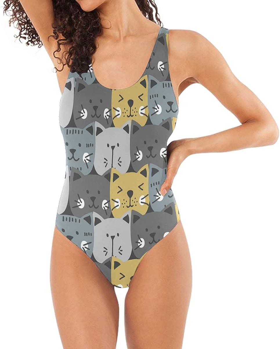 FOLPPLY Funny Cat Face Pattern 1 Piece Swimsuit, Sexy Backless Bodysuit Swimwear Beach Suit Bathing Suit Bikini for Women S
