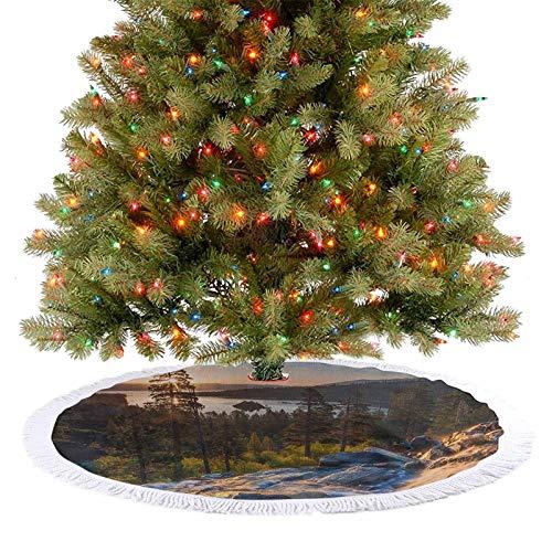 Homesonne Faldones de árbol, ideal para paisajes estadounidenses, cascada en el bosque, románticos adornos de Navidad, combinan perfectamente con tu árbol de Navidad, multicolor, 122 cm