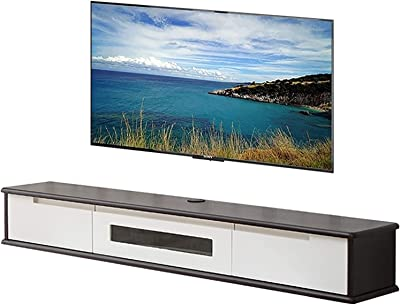 TV Cabinet, TV Lowboard, Floating Shelves, Floating TV Stand Component Shelf, Black 100/120/150CM Bedroom Hanging Wall Cabinet, Wall Mounted Media Console. (Color : A, Size : 120CM)