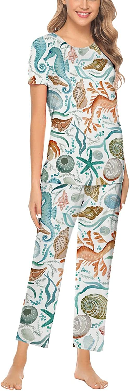 ksdhfhda Watercolor Crab Woman Pajama Set Long Sleeve Tops & Pants Summer O-Neck 2pcs Printed Pj Lounge XS-XXL